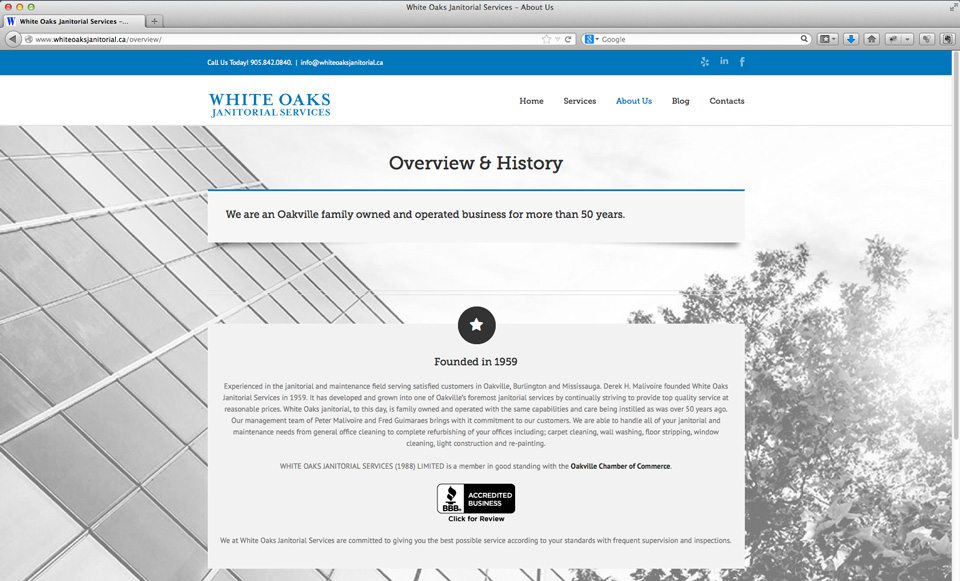 White Oaks Janitorial Services website - About page