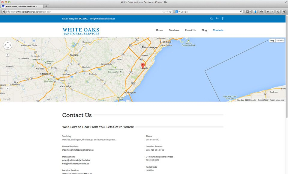 White Oaks Janitorial Services website - contact page