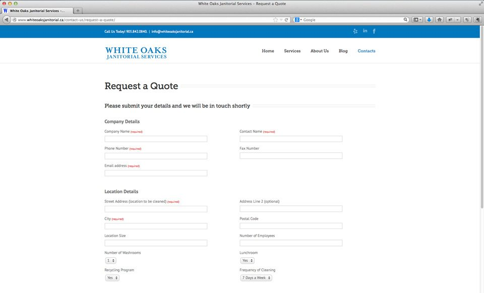 White Oaks Janitorial Services website - Request Quote page