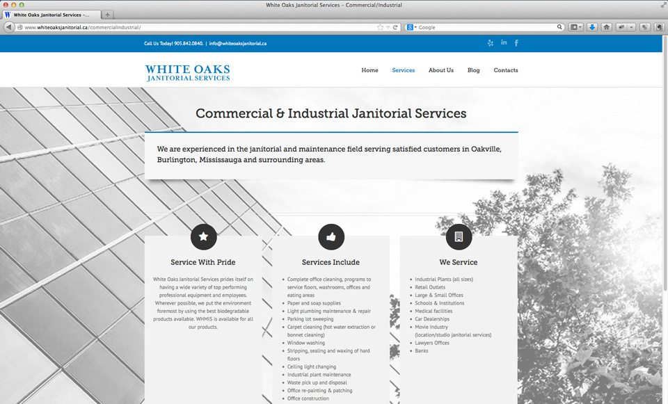 White Oaks Janitorial Services website - Services page