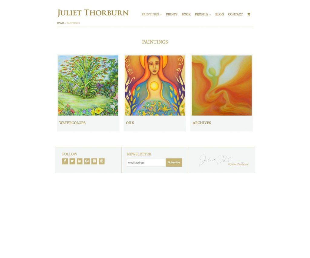 JulietThorburn.com website paintings page - desktop version