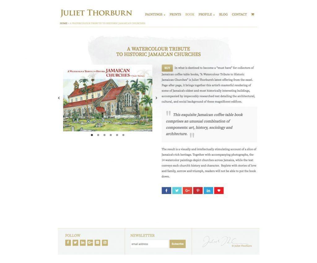 JulietThorburn.com website book page - desktop version