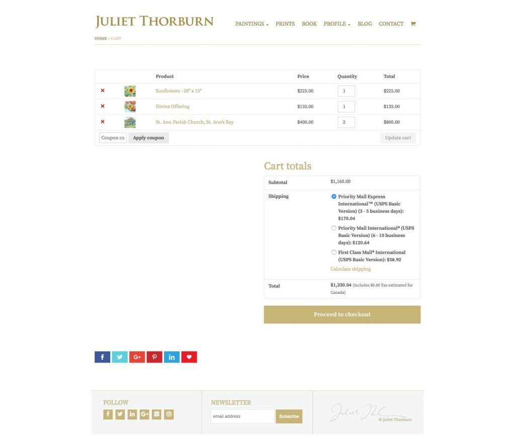 JulietThorburn.com website ecommerce cart page - desktop version