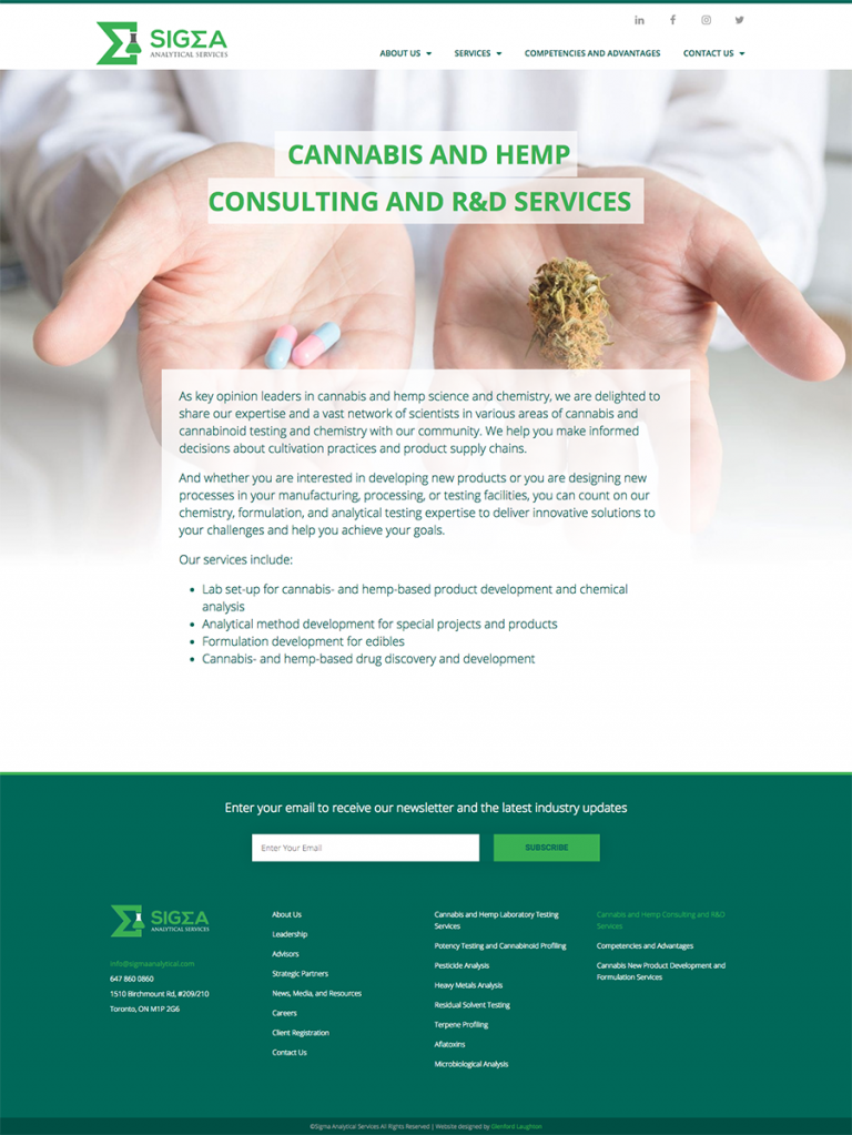 Cannabis and Hemp Consulting and R&D Services page